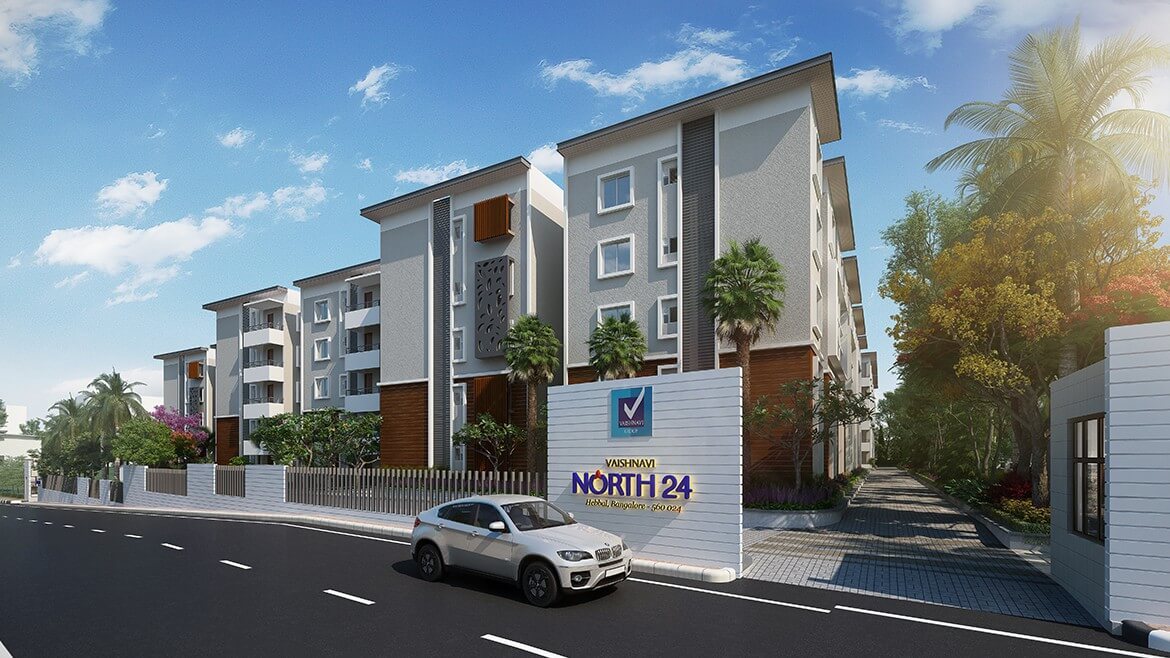 Vaishnavi North24 front view | Vastu compliant Ready to move in 2 and 3 BHK flats are for sale at a optimum location of Hebbal, bengaluru