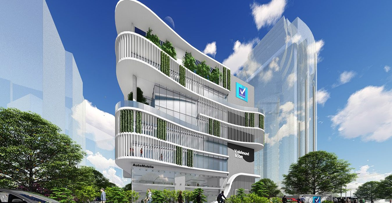 Vaishnavi Icon front view | Best Corporate officeplace is now available to occupy at Richmond Road, bengaluru