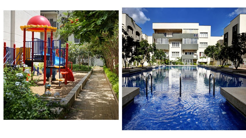 Vaishnavi Orchids play area and Swimming Pool view | Best Ready to move 3 BHK & 4 BHK villas are for sale at Sarjapur Road, bengaluru