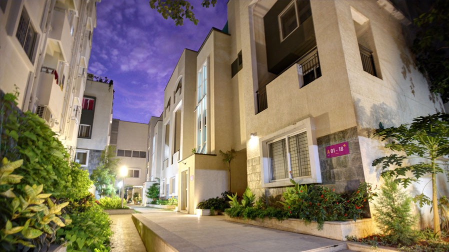 Vaishnavi Orchids building blocks night view | Best Ready to move 3 BHK & 4 BHK villas are for sale at Sarjapur Road, bengaluru
