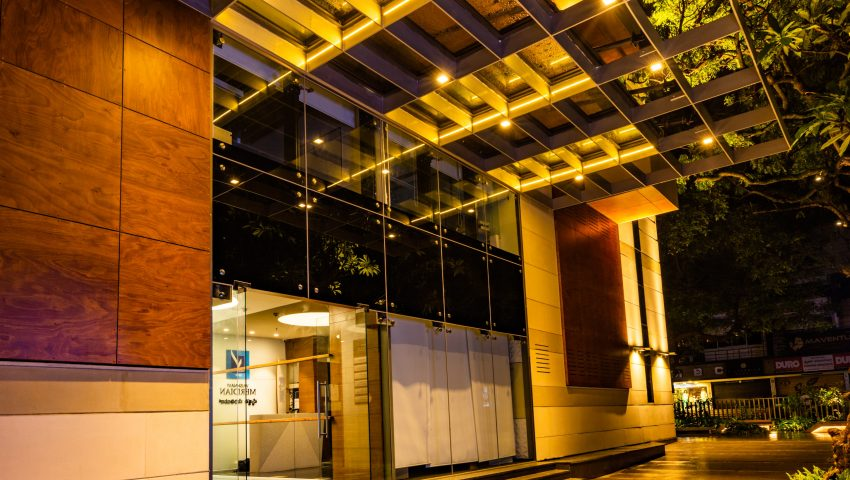 Vaishnavi Meridian Building entrance night view | Best Corporate Workplace is now available to occuy at Infantry Road, bengaluru