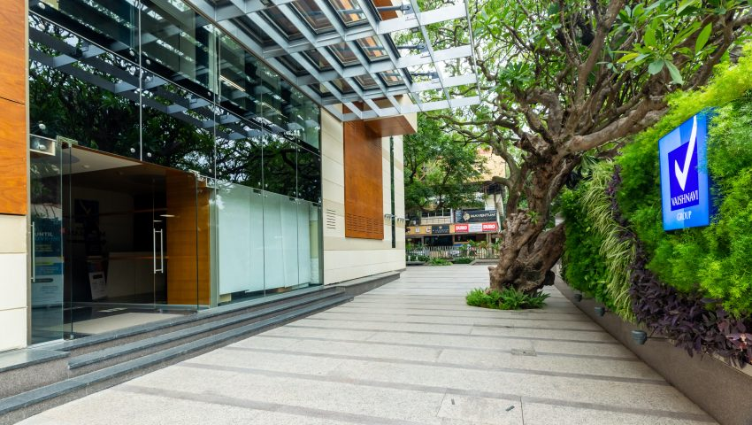 Vaishnavi Meridian Building entrance daylight view | Best Corporate Workplace is now available to occuy at Infantry Road, bengaluru Vaishnavi Meridian Building entrance daylight view | Best Corporate Workplace is now available to occuy at Infantry Road, bengaluru