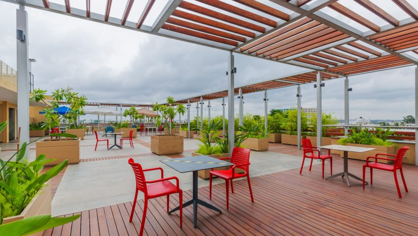 Vaishnavi Meridian roof top cafeteria on a cloudy day | Best Corporate Workplace is now available to occuy at Infantry Road, bengaluru