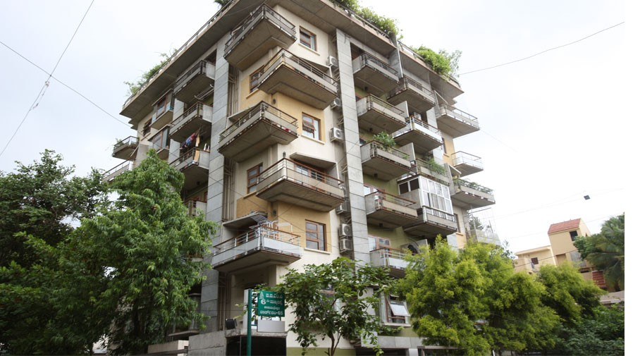 Vaishnavi Symphony front entrance view | Ready to occupy 3 BHK flats are for sale in Malleshwaram, bengaluru