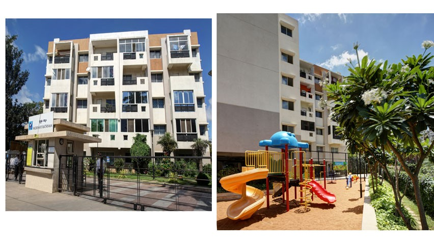 Vaishnavi Rathnam front entrance and playground view   Luxury 2 BHK & 3 BHK flats are for sale in Jalahalli West, bengaluru