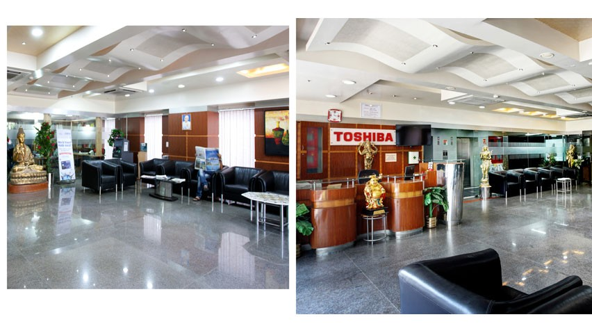 Vaishnavi Solitaire building interior reception | Spacious office place for your Organization now occupied by Toshiba at Koramangala, bengaluru