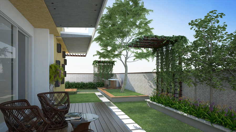 Vaishnavi Prime open air living area | luxurious 3 BHK ready to occupy flats are for sale at Langford, bengaluru