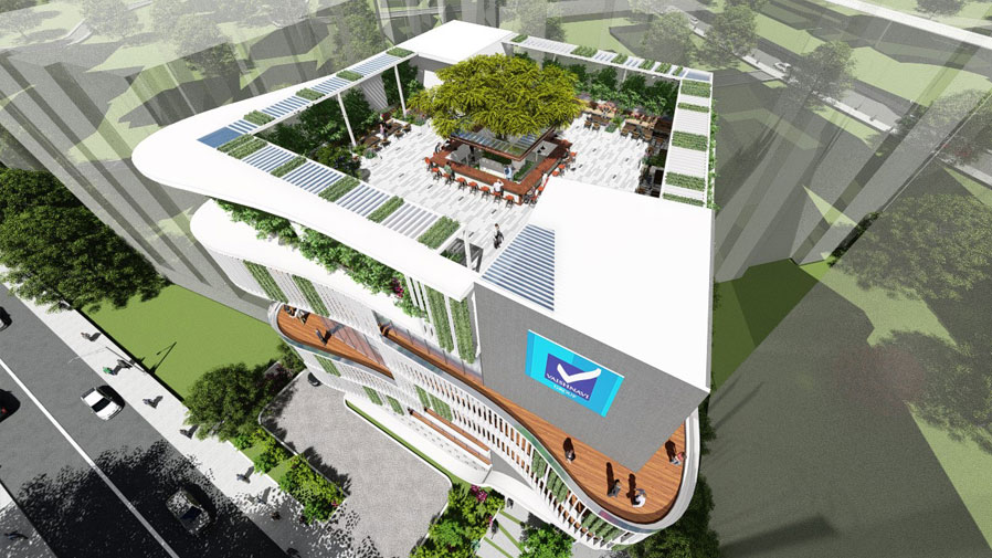 Vaishnavi Icon top view alongside with road | Best Corporate officeplace is now available to occupy at Richmond Road, bengaluru