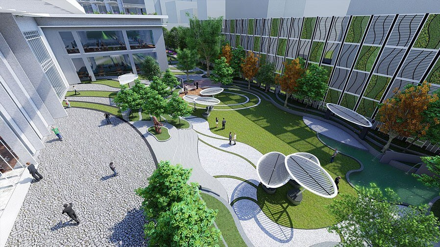 Vaishnavi Tech Park open air walking area top view | Commercially available Office Space is now ready to occupy at Sarjapur Road, bengaluru